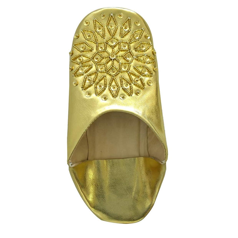 社交的アンテナ大脳モロッコ バブーシュ スリッパ レディース スパンコール ビーズ bb013 23.5cm(37)ゴールド