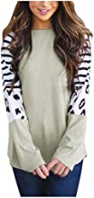 Womens Tops Fashion Leopard Stripe Patchwork Casual O-Neck Long Sleeve Pullover