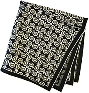 ポケットチーフ シルクチーフ メンズ 紳士 英国製 Silk ターンブル&アッサー Turnbull&Asser 大判 ツイル Paisley Black/White Size45x45cm C019