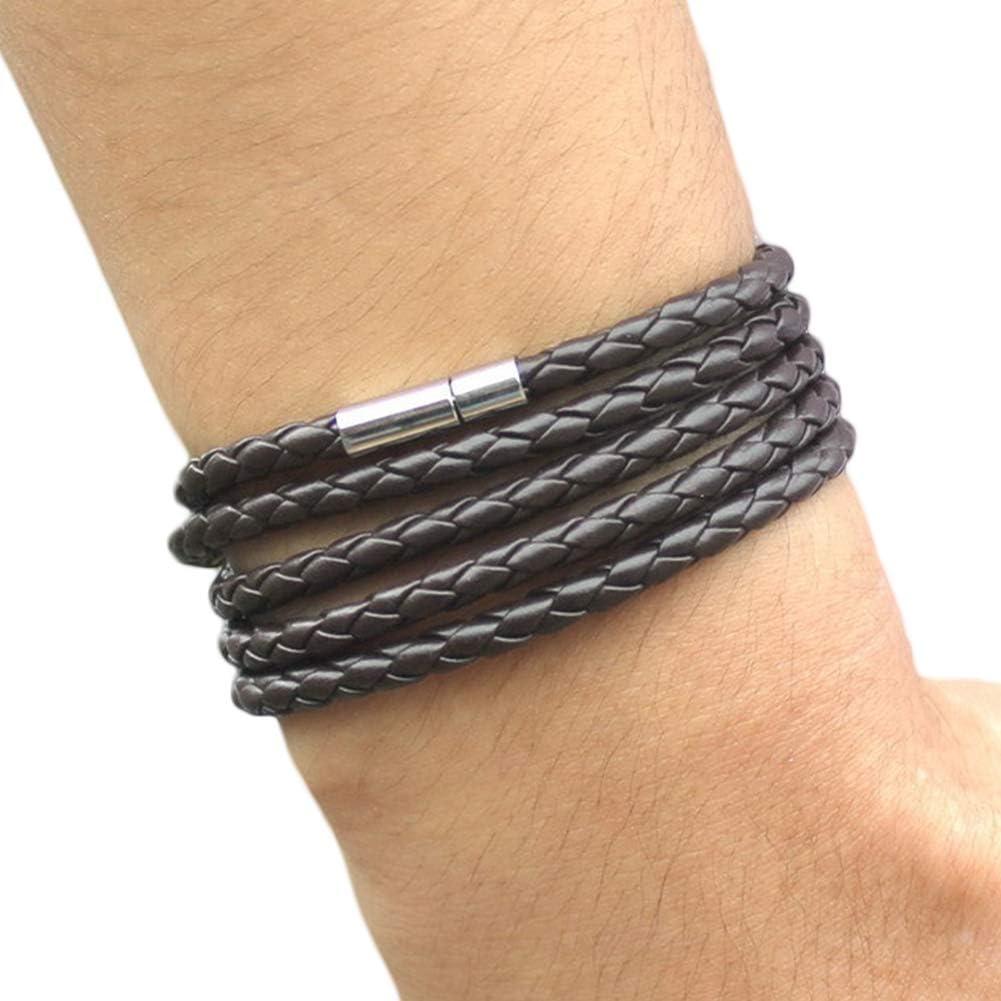 Meideli Couple's Cuff Bracelet, Fashion Unisex Multilayer Interlaced Bracelet, Faux Leather Bracelet Wrist Bangle Jewelry Coffee