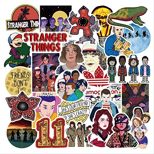 SUNYU Stranger Things Sticker Pvc Skateboard Snowboard Motorcycle Bicycle Guitar Laptop Sticker Kids Toys Decal Stickers 50Pcs