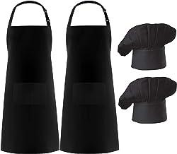 Hyzrz 2 Pack Apron Chef Hat Set, Adjustable Bib Cooking Aprons Water Drop Resistant Baker Kitchen Cooking for Women Men Chef