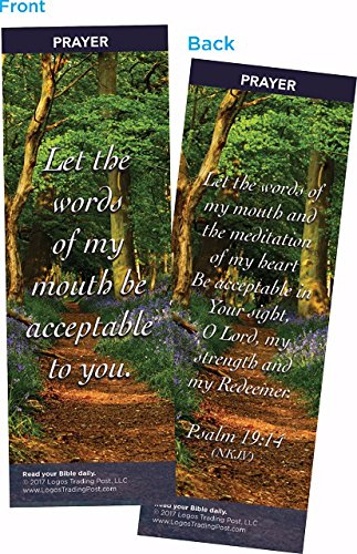 Christian Bookmark with Bible Verse, Pack of 25, Prayer Themed, Let the Words of My Mouth Be Acceptable To You, Psalm 19:14