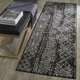 Safavieh Adirondack Collection ADR111C Contemporary Bohemian Distressed Runner, 2'6' x 8', Black/Silver