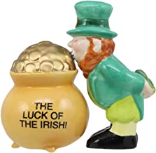 Ebros Saint Patrick's Day Luck Of The Irish Leprechaun Kissing Pot Of Gold Magnetic Salt And Pepper Shakers Set Ceramic Figurines Party Kitchen Tabletop Collectible Prop Decorative Accessories