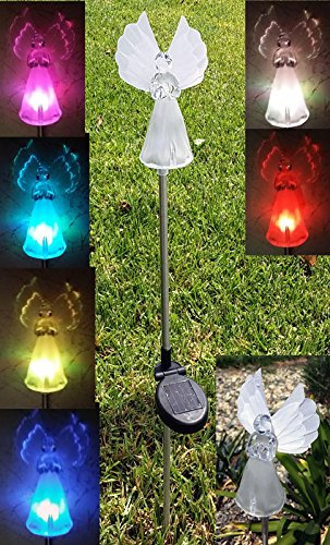 Solar Frosty Angel Lights with Fiber Wings (Set of 2)