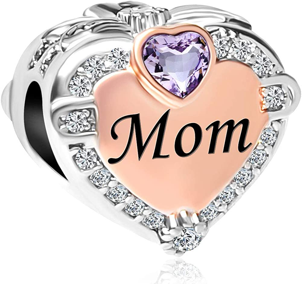 Heart of Charms Mom Mother Heart I Love My Girls or Boys Charms Photo Charms Beads for Snake Chain Bracelets