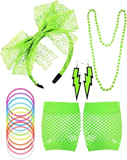 DS. DISTINCTIVE STYLE 80s Costume Accessories Set for Women Lace Headband Earring Fishnet Gloves Necklace Bracelets for 80s 90s Theme Party Green