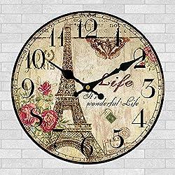 Yanoen Retro French Eiffel Tower Paris France 12 Wall Clock Shabby Chic