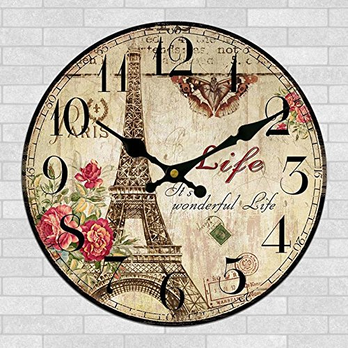 Yanoen Retro French Eiffel Tower Paris France 12 Wall Clock Shabby Chic