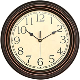 WINOMO Round Classic Clock Decorative Bronze Wall Clock, Silent Non Ticking Quality Quartz Battery Operated 12 Inch Round Easy to Read Home/Office/School Clock