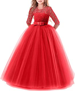 ca3b094018cd44 IWEMEK Flower Girls 3/4 Sleeve Floral Lace Tulle First Communion Pageant  Dresses Kids Big