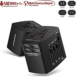 Universal Adapter Worldwide Travel Adapter Plug with 4 Smart USB Ports, UK/US/AU/Europe All in One Plug Adapter, Over 150 Countries for Phones, Tablets, Camera, MP3 Charging