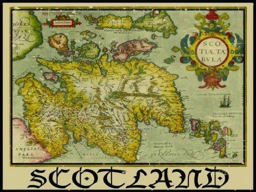Cartel de metal de Escocia, mapa vintage de bordes históricos de clan, decoración de biblioteca retro de 19,8 x 30 cm para decoración de pared de bar club