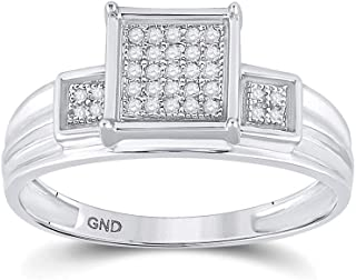 FB Jewels 925 Sterling Silver Womens Round Diamond Square Cluster Ring 1/10 Cttw Size 7 (Primary Stone: SI3 clarity; G-H c...