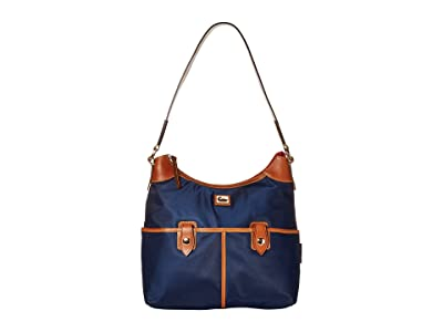 Dooney & Bourke Camden Zip Hobo (Navy/Dark Chocolate Trim) Hobo Handbags