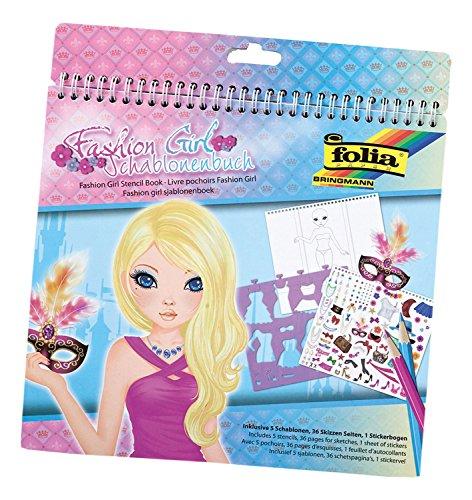 folia 41204 - Schablonenbuch Fashion Girl, Block mit 36 Malvorlagen, 5 Schablonen und 1 Stickerbögen - ideal für Mädchen