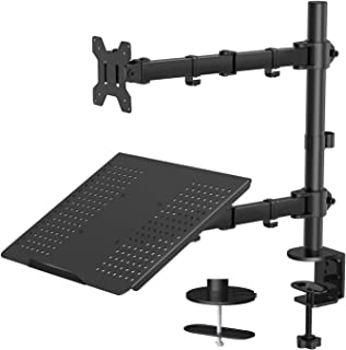 """Monitor Stand with Keyboard Tray - Adjustable Desk Mount Laptop Holder with Clamp and Grommet Mounting Base for 13 to 27 Inch LCD Computer Screens Up to 22lbs, Notebook up to 17"""" (Renewed)"""