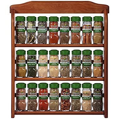 McCormick Gourmet Organic Wood Spice Rack (with Spices Included), 3 Spice Rack Shelves, 24 Herbs & Spices