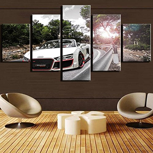 FYZKAY Cuadro en Lienzo 5 Partes Modern Home HD Impreso Audi Wall Poster    Pictures White Sports Car Canvas Painting Living Room Decor Sin Marco