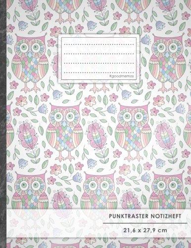 "Punktraster Notizbuch • A4-Format, 100+ Seiten, Soft Cover, Register, ""Eulenmuster"" • Original #GoodMemos Dot Grid Notebook • Perfekt als Skizzenbuch, Tagebuch, Handlettering Übungsbuch"