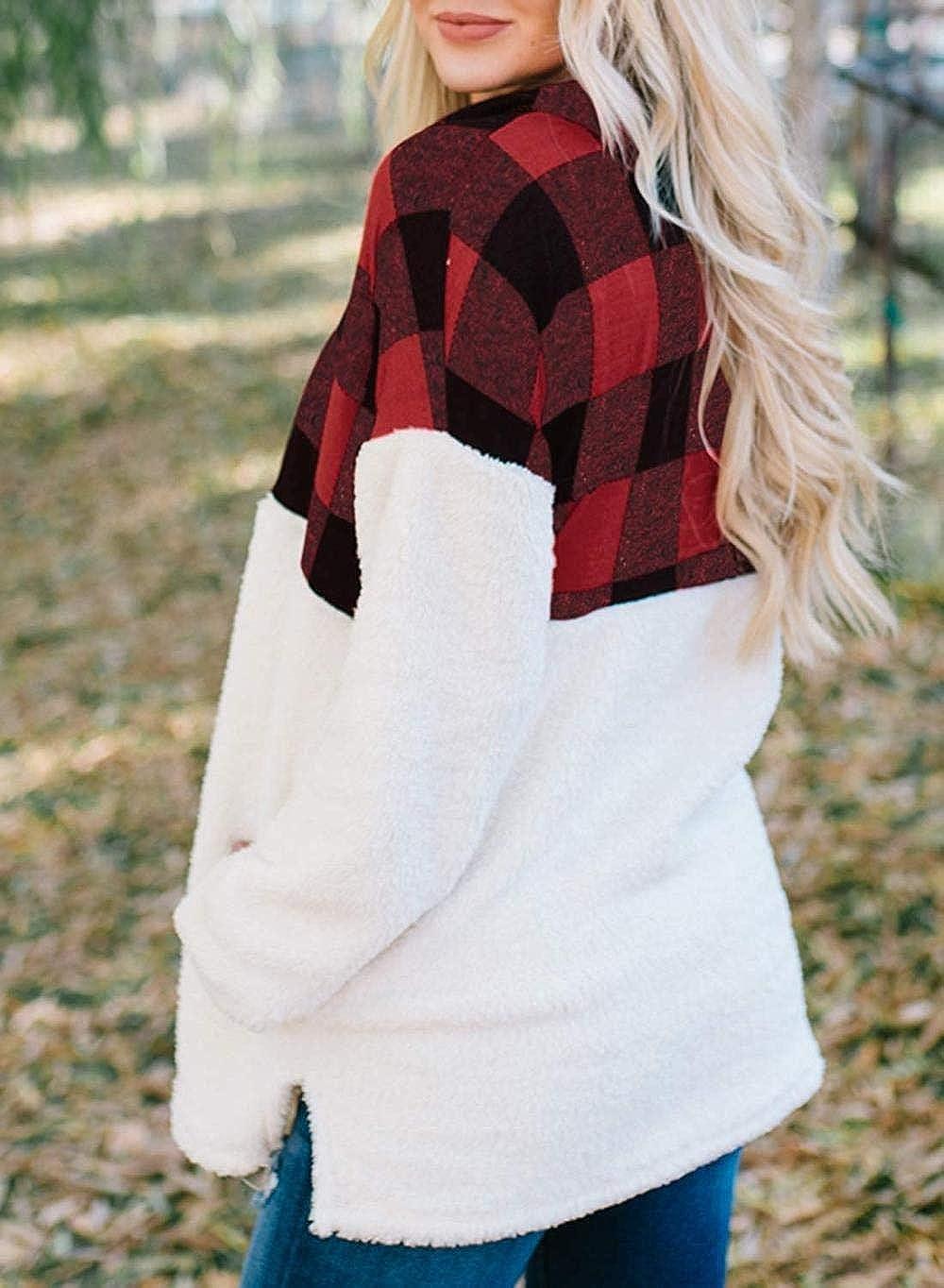 LET Sweat-Shirt en Laine à glissière de Couleur Unie pour Femme Z-red