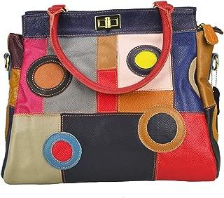 Women's Multicolor Boston Bag Colorful Tote Leather Bag Unique Genuine Leather Handbag Designer Purse-Sibalasi