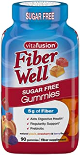 Vitafusion Fiber Gummies, Sugar Free, 90-Count Bottle (Pack of 2)