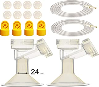 Pump Tubing and Breast Pump Kit by Maymom for Medela Pump in Style Advanced Breastpump. Inc. Replacement Pump Parts, Tubing, Valves, Membranes, and Breastshields (24 mm, Standard)