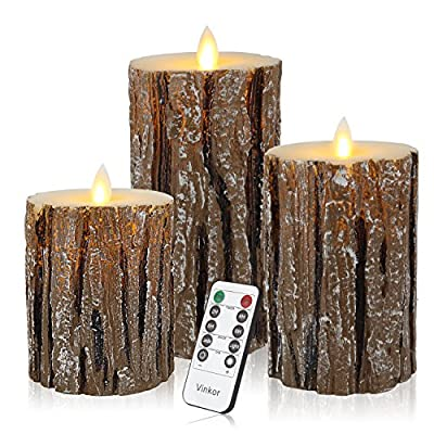 Vinkor Flameless Candles Flickering Candles Decorative Battery Flameless Candle Classic Real Wax Pillar with Dancing LED Flame & 10-Key Remote Control 2/4/6/8 Hours Timers