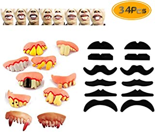 34PCS TKOnline Novelty Fake Mustache Mustaches Novelty & Toy And Ugly Fake Teeth Costume Party, Fancy Dress Party And Funny Gag Gift.
