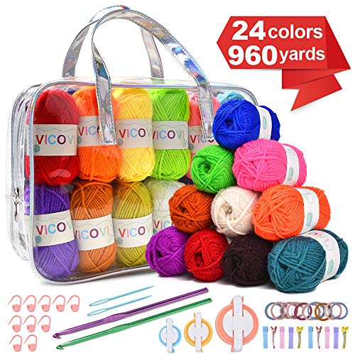 VICOVI 1000+Yard Acrylic Yarn Kit for Crochet&Knitting Craft with 24 Assorted Colors,2 Crochet Hooks,2 Knitting Needless,10 Markers,10 Hairbands,10 Hairpins,3 Sizes of Pompom Makers