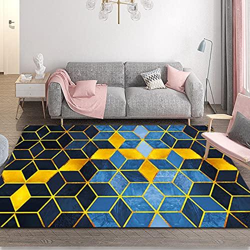 NHhuai Alfombra De Pelo Largo, Shaggy para Salón, Alfombra geométrica Creativa del Pasillo del Hotel.