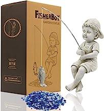 مجسمه باغ LIMEIDE Fisherboy ، مجسمه مجسمه سازی ماهیگیر پسر ، تزیین ماهیگیری استخر چمن حیاط فضای باز ، 11 اینچ