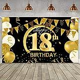 18 Geburtstag Party Dekoration - Geburtstag Hintergrund Banner Extra Große Schwarz Gold Dekoration für Männer Mädchen Geburtstag Sfeier Liefert Foto Prop Kuchen Tisch Banner (A 185 * 110)
