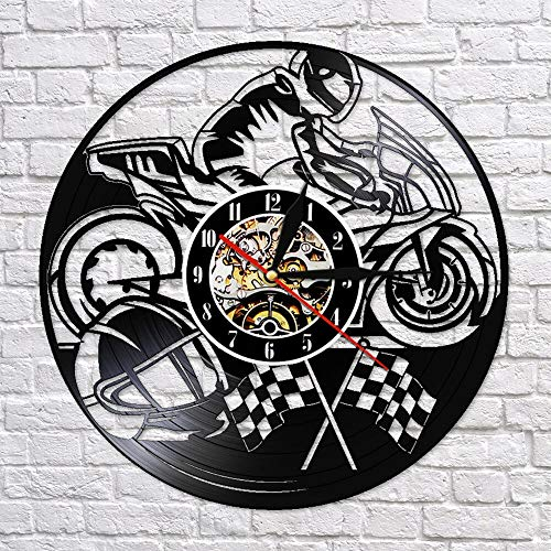 BFMBCHDJ Mountain Extreme Sport Motocycle Motorbike3D Wall Clock Motorcycle Decorative Clocks Make from Vinyl Record Wall Decor with LED 12 Inches