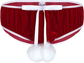 iixpin Men's Soft Velvet Christmas Holiday Bowknot Stretchy Fancy Cosplay Briefs Underwear Panties