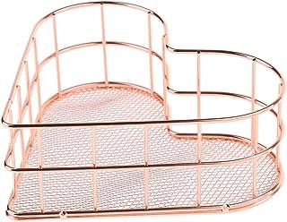 金属鉄収納バスケット浴室ホルダーラックキッチンシェルフオーガナイザー - ローズゴールド