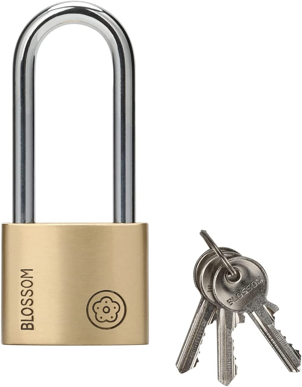 BLOSSOM Padlock Limited time cheap sale with Large-scale sale Key Solid Long Brass Keyed Shackle