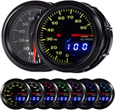 "HOTSYSTEM 7 Color Oil Pressure Gauge Kit 0 to 100 PSI Pointer & LED Digital Readouts 2-1/16"" 52mm Black Dial for Car Truck"