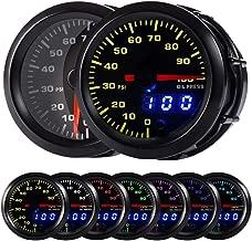HOTSYSTEM 7 Color Oil Pressure Gauge Kit 0 to 100 PSI Pointer & LED Digital Readouts 2-1/16
