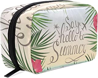 83d032e051 Cosmetic Bag Hello Welcome Summer Tropical Palnts Floral Flowers Ocean Sea  Beach Customized Square Organizer Portable