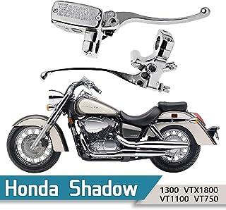"1"" Handlebar 14mm Bore Motorcycle Left Clutch Lever & Right Hydraulic Brake Master Cylinder Lever Fits Honda, Kawasaki, Suzuki, Yamaha Chrome"