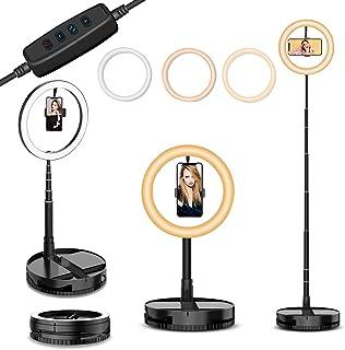 """Selfie Luz de Anillo LED 10"""" con Soporte para Movil,3 Colores 11 Brillos Regulables Luz de Maquillaje Portátil 50-168cm Es..."""