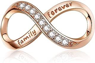 Abalorios de plata de ley 925 chapados en oro rosa con diseño de infinito y amor familiar, para pulseras de cadena de serpiente