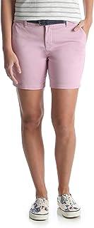 سروال قصير Chino من القطن للنساء من Lee Riders مع خياطة داخلية وحزام مجدول (وردي ليلي، 20)