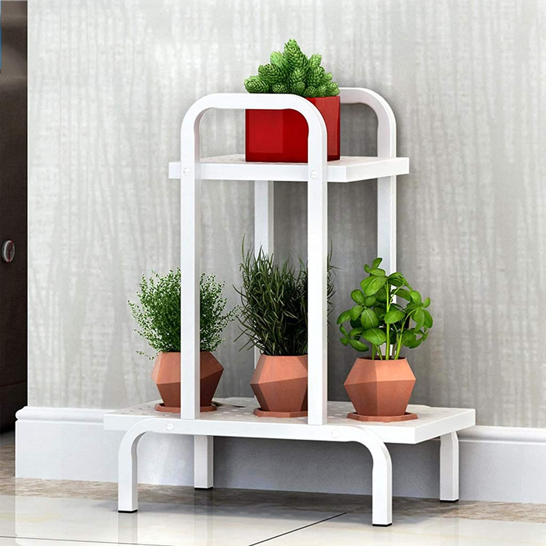 WAN SAN QIAN- Flower Stand Metal Flower Shelf Floor-Standing Ladder Storage Rack Home Simple Pot Plant Shelves,Black White Flower racks (color   White, Size   A)