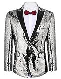 COOFANDY Shiny Sequins Suit Jacket Blazer One Button Tuxedo for Party,Wedding,Banquet,Prom,Nightclub (XXXL, Silver Grey)