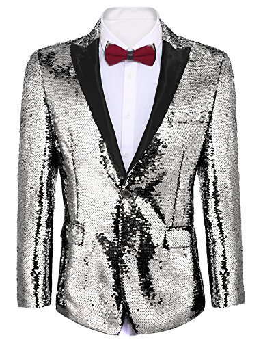 COOFANDY Shiny Sequins Suit Jacket Blazer One Button Tuxedo for Party,Wedding,Banquet,Prom,Nightclub,Silver Grey,Large