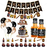 Whiskey Birthday Party Decorations, Aged to Perfection Birthday Party Supplies with Whiskey Birthday Banner Garland, Whiskey Cake Toppers, White Black Champagne Balloons Whiskey Bottle Foil Balloons